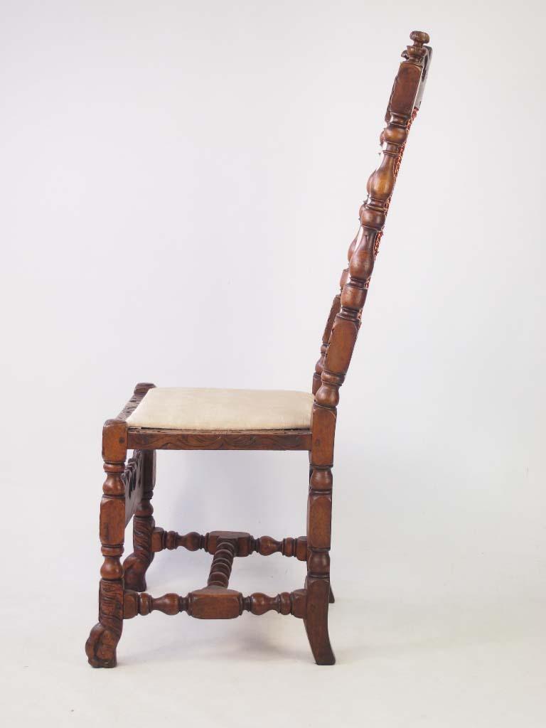 Antique Victorian Walnut Carolean Style Chair