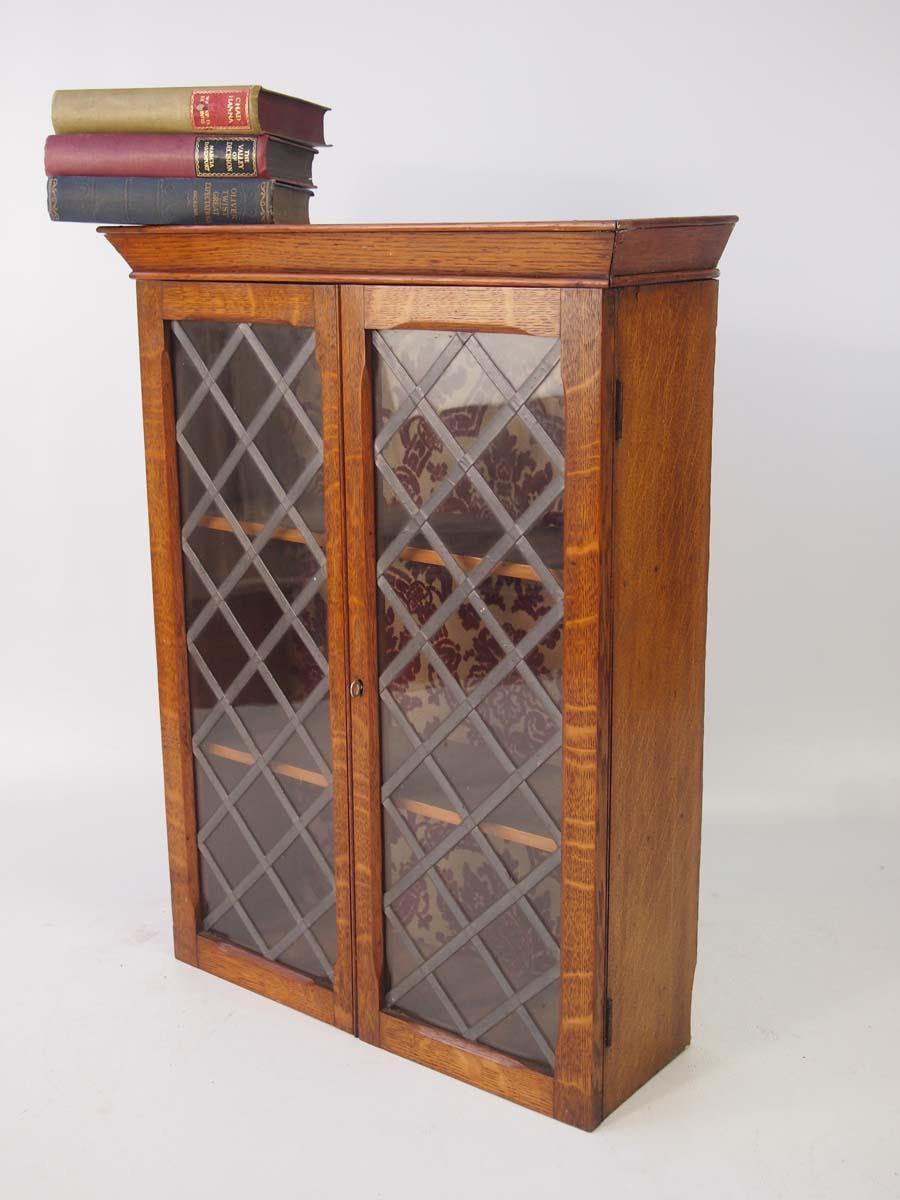 Small Antique Edwardian Oak Hanging Cabinet