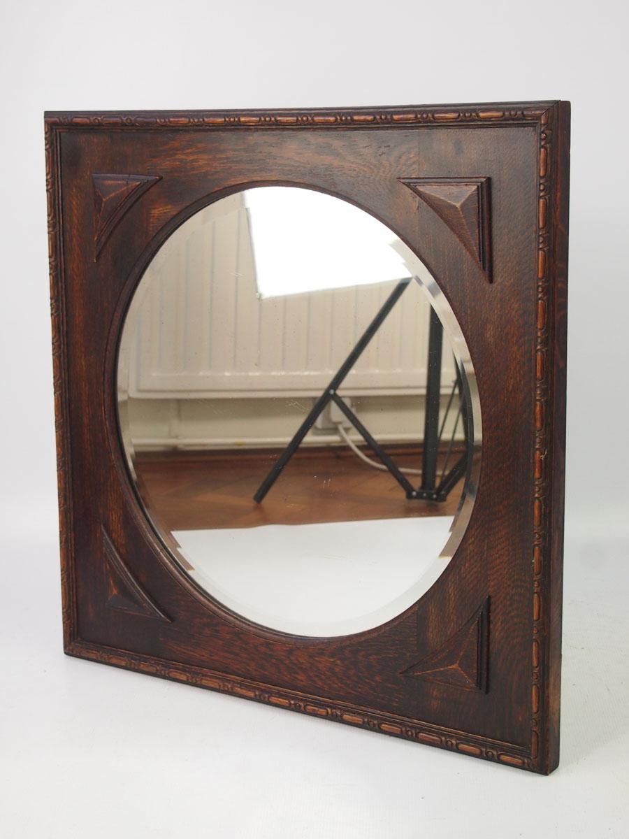 Vintage Oval Mirror in Square Oak Frame