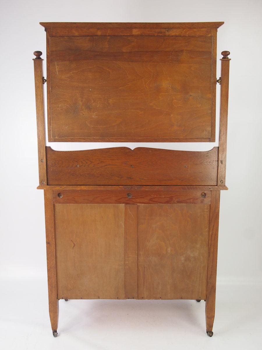 Antique Edwardian Arts  Crafts Oak Dressing Table