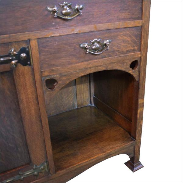 oak stained glass Arts & Crafts Sideboard copper handles