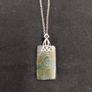Celtic Silver Moss Agate Pendant Necklace