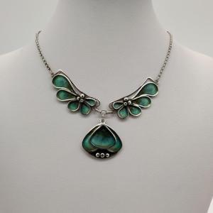 Pat Cheney Silver Enamel Vintage Art Nouveau Necklace