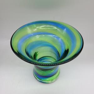 Stevens & Williams Rainbow Vase green & blue swirls Royal Brierley