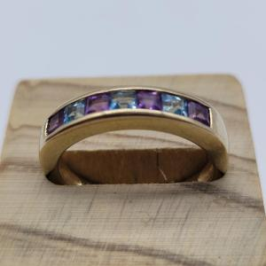 channel set 9K amethyst blue topaz eternity ring