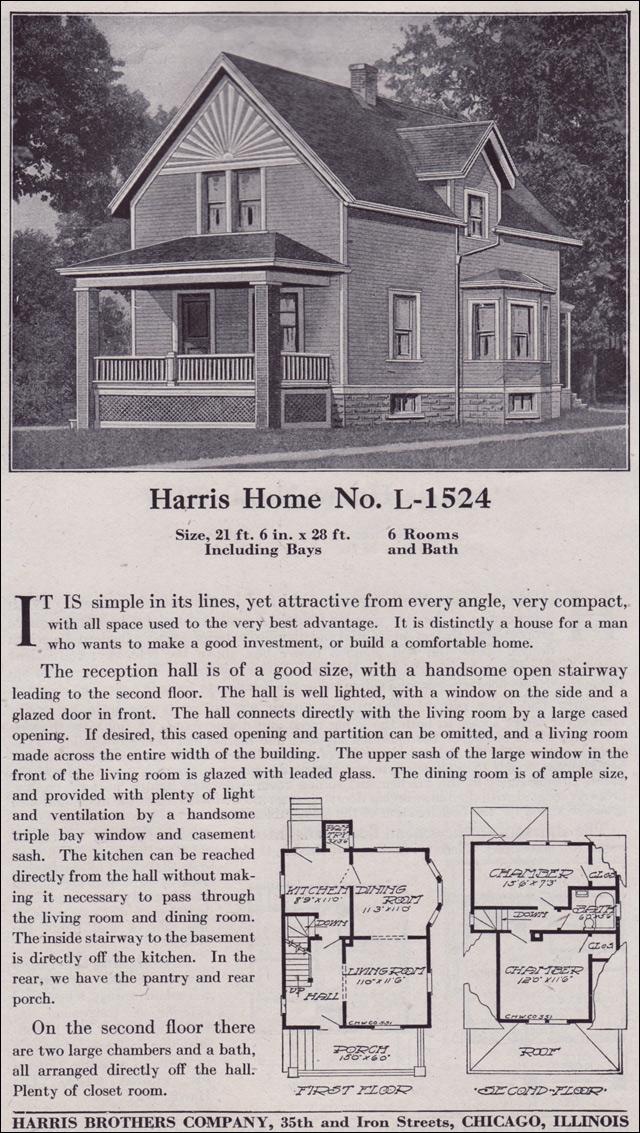 Plan L 1524 Late Queen Anne Farmhouse C 1918 Harris