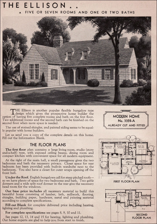 Sears Modern Homes Kit House  1936 Ellison  Eclectic