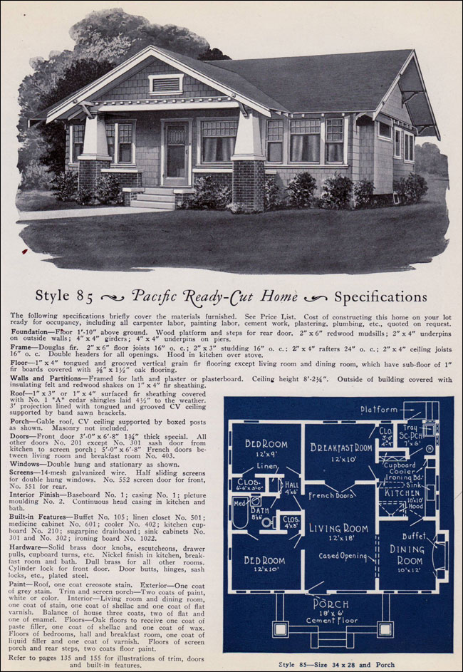 California Craftsman Style Bungalow No 85 1925
