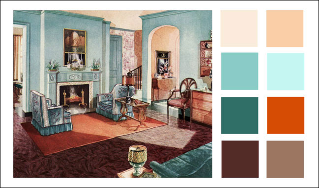 1929 Armstrong Living Room Turquoise Orange Color