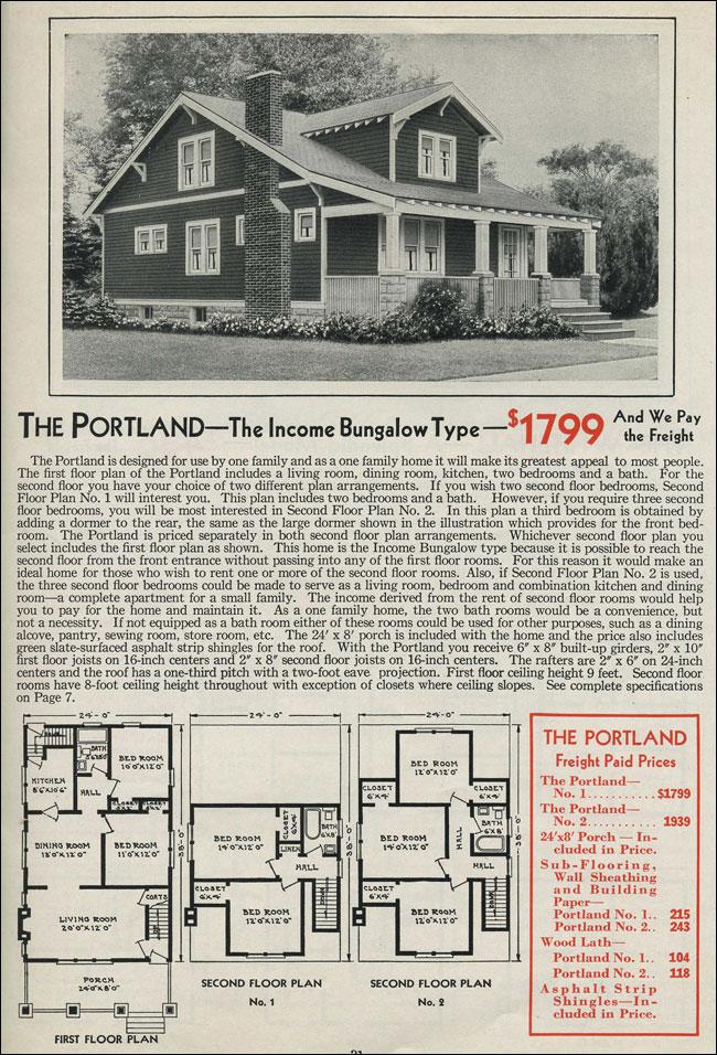 Gabled Dormer Portland Craftsman Style Bungalow 1931