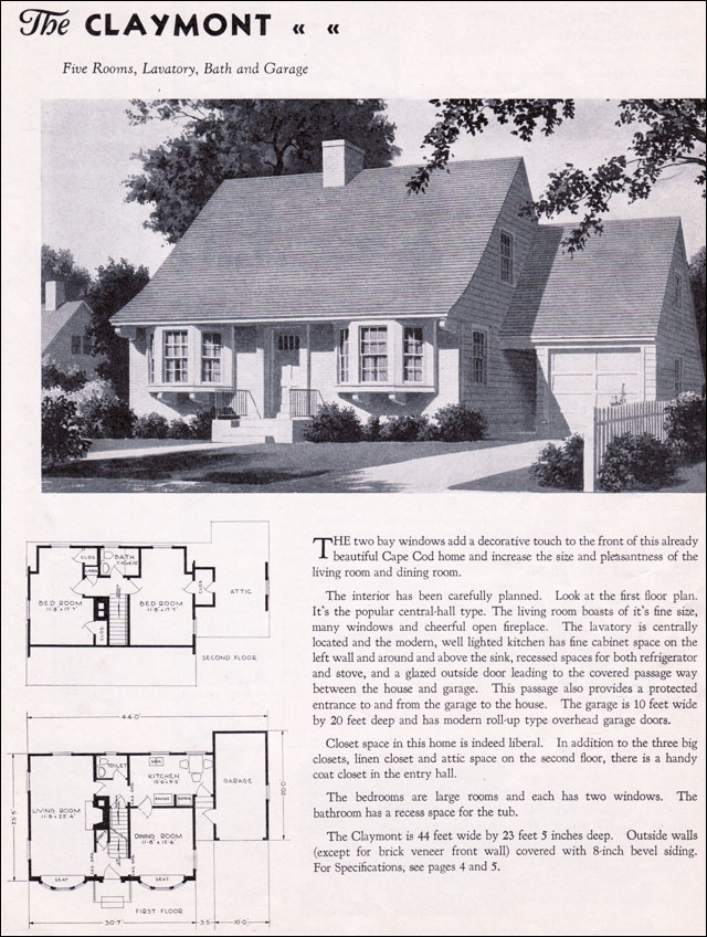 1935 Gordon Van Tine Homes The Claymont 1930s Colonial Style