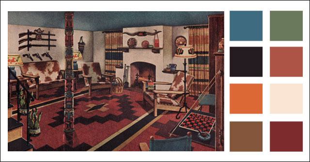 1945 Armstrong Man Cave  Midcentury Basement Color