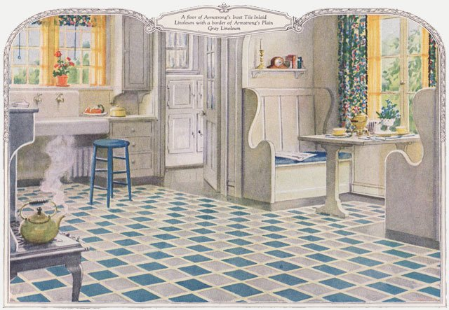 1920s Kitchen Nook 1924 Armstrong Linoleum Design