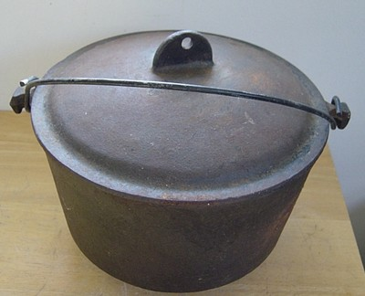 Large Vintage Antique Footed Cast Iron Pot Kettle Cauldron