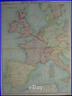 Spain France Italy Map : spain, france, italy, Antique, France, Archive, Large, Western, Europe, Communications, British, Isles, Spain, Italy
