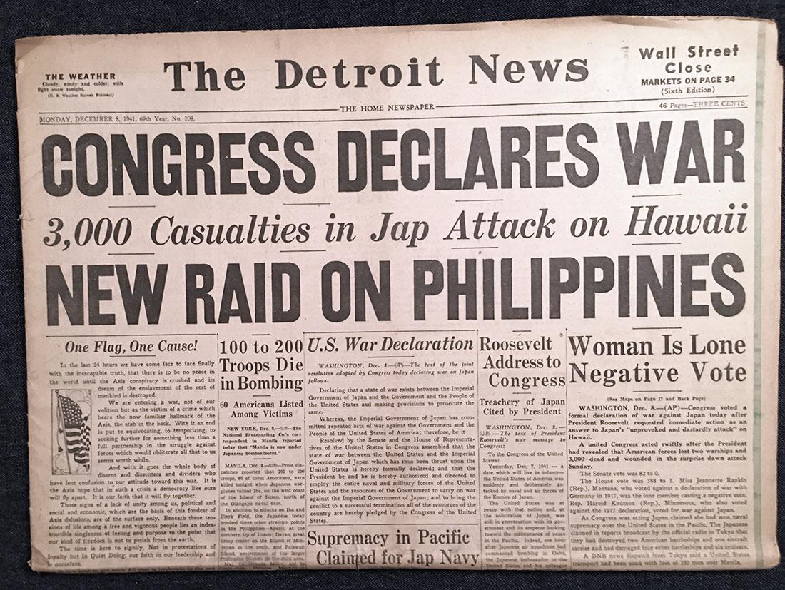 Congress Declares War - The Detroit News 12/08/1941