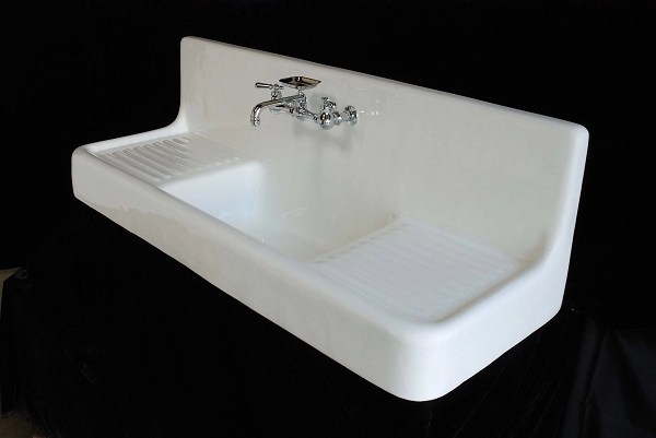 Cast Iron Farmhouse Drainboard Sink No Legs