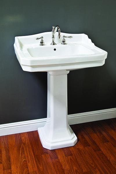Porcelain Deco Pedestal Sink w Backsplash