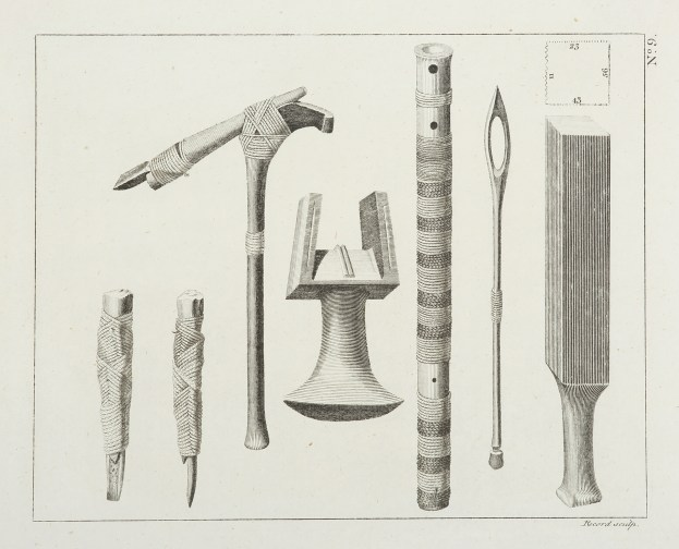 [Tools and Instruments from the Society Islands.] - Antique Print from 1773