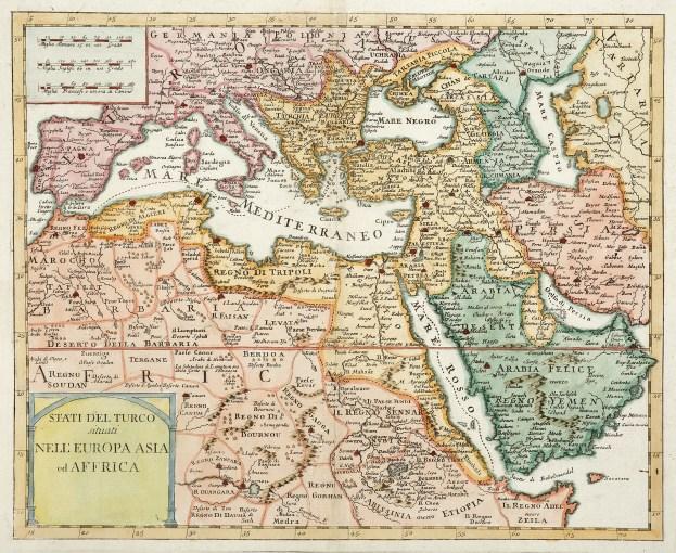 Stati Del Turco situati Nell'Europa Asia ed Affrica - Antique Print from 1740
