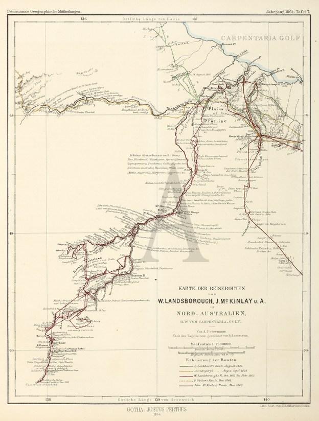 Karte der Reiserouten von W.Landsborough, J.McKinlay u.A. in Nord-Australeien, (S.W to vom Carpentaria-gold) - Antique Map from 1864