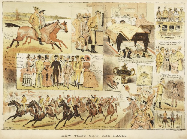 How They Saw the Races. - Antique Print from 1883