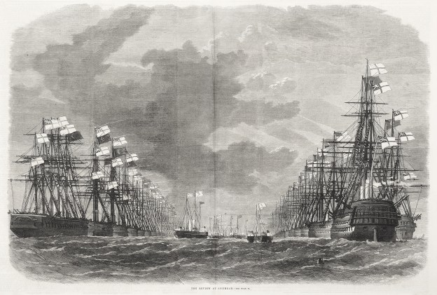 The review at Spithead. - Antique Print from 1867