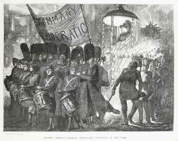 Graphic America - Tammany Democratic Procession in New York. - Antique Print from 1870