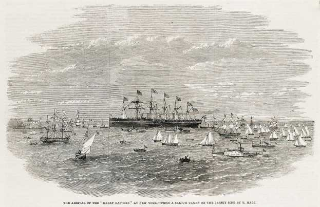 """The Arrival of the """"Great Eastern"""" at New York. - Antique View from 1860"""