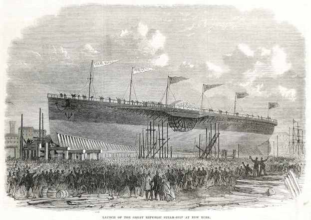 Launch of the Great Republic Steam-Ship at New York. - Antique View from 1867