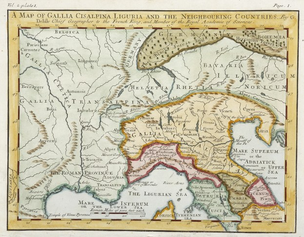 A Map of Gallia, Cisalpina, Liguria and the Neighbouring Countries. - Antique Map from 1745