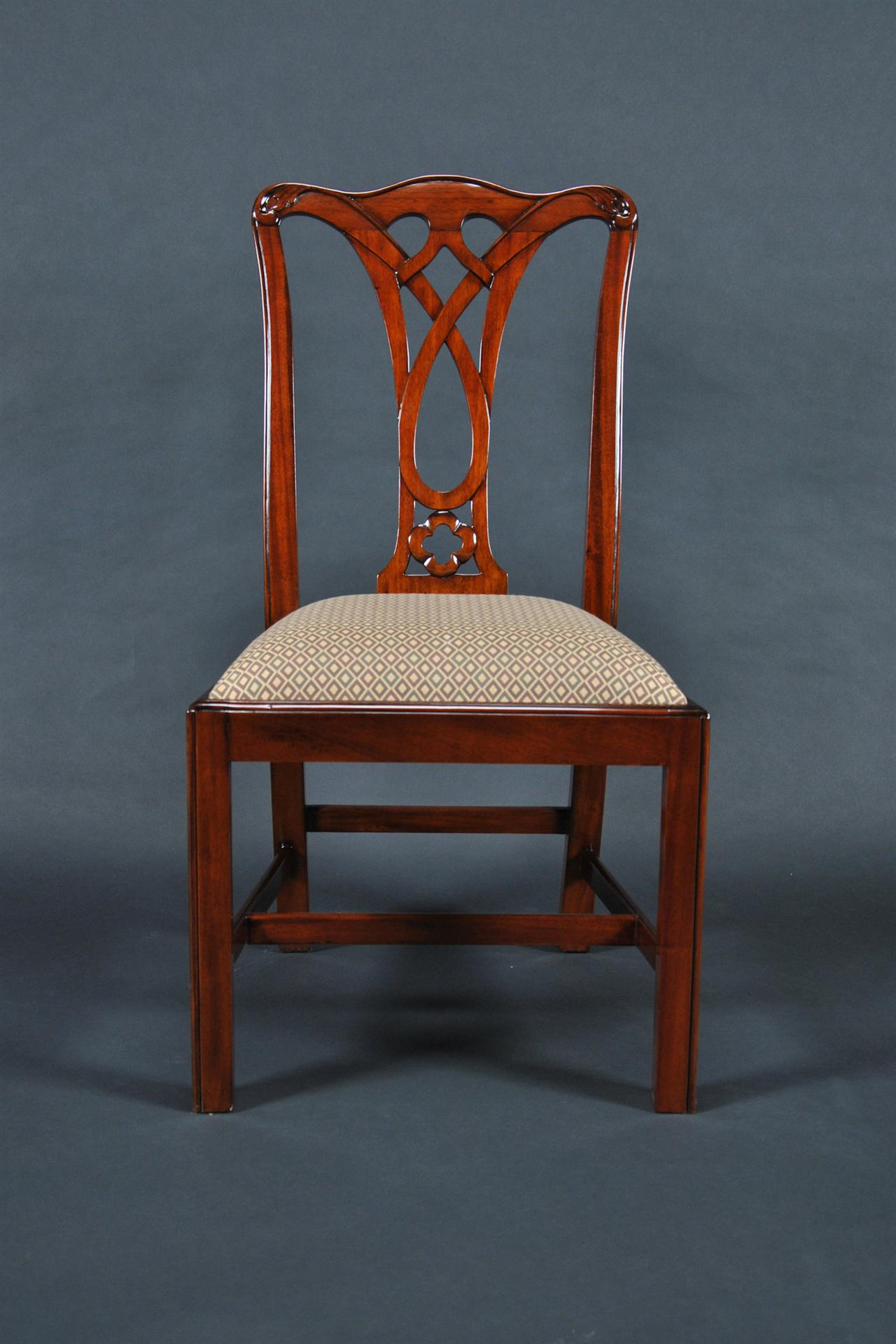 Chair Dining Simple Chippendale Mahogany Straight Leg Dining Chair 6