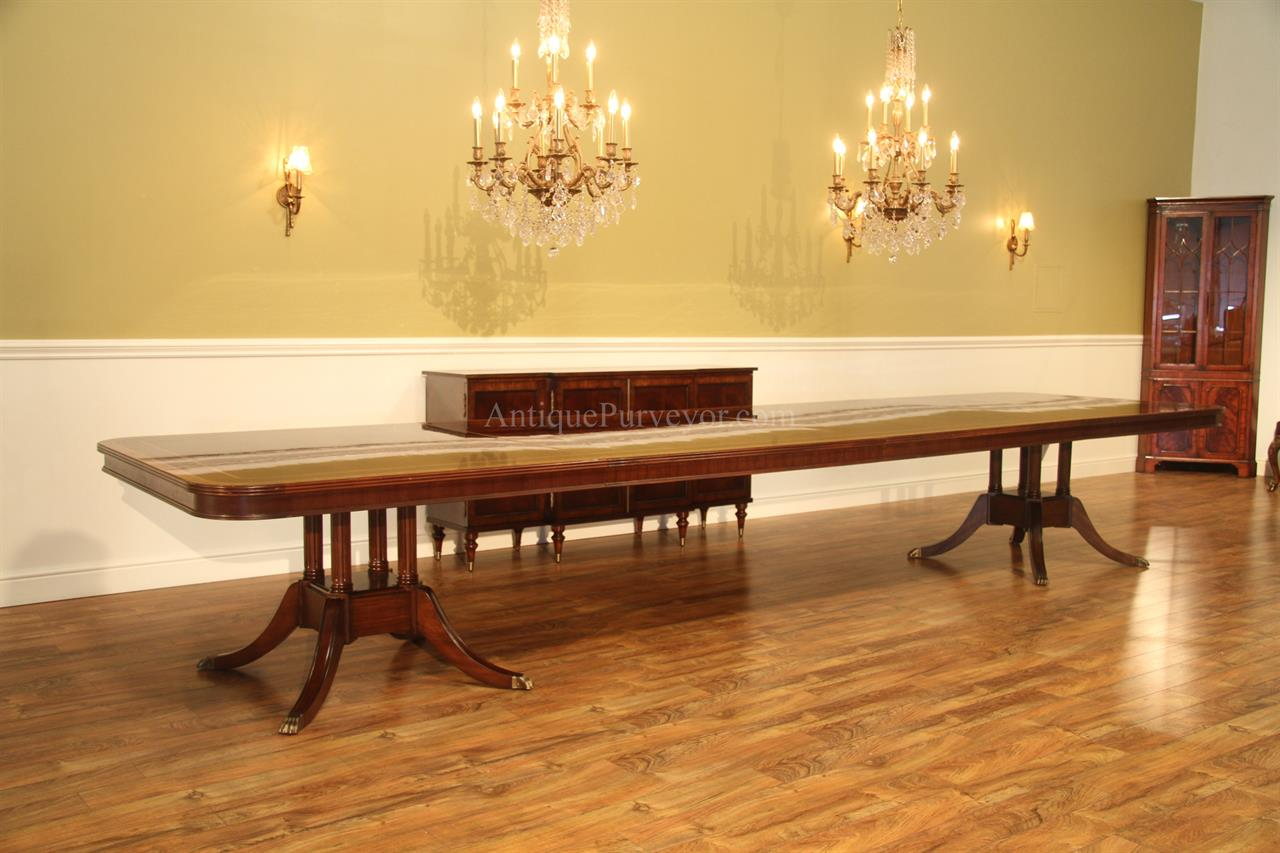 Long & Large Double Pedestal Mahogany Dining Table W/ 2
