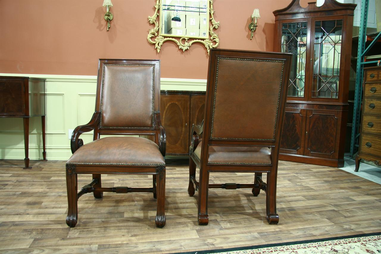 Oversized Dining Chair 2 Large Mahogany Leather Upholstered Dining Arm Chairs