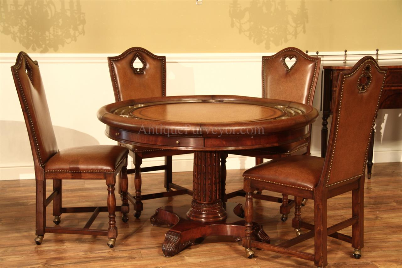 Poker Table With Chairs Round Leather Top Poker Table Mahogany Games Table