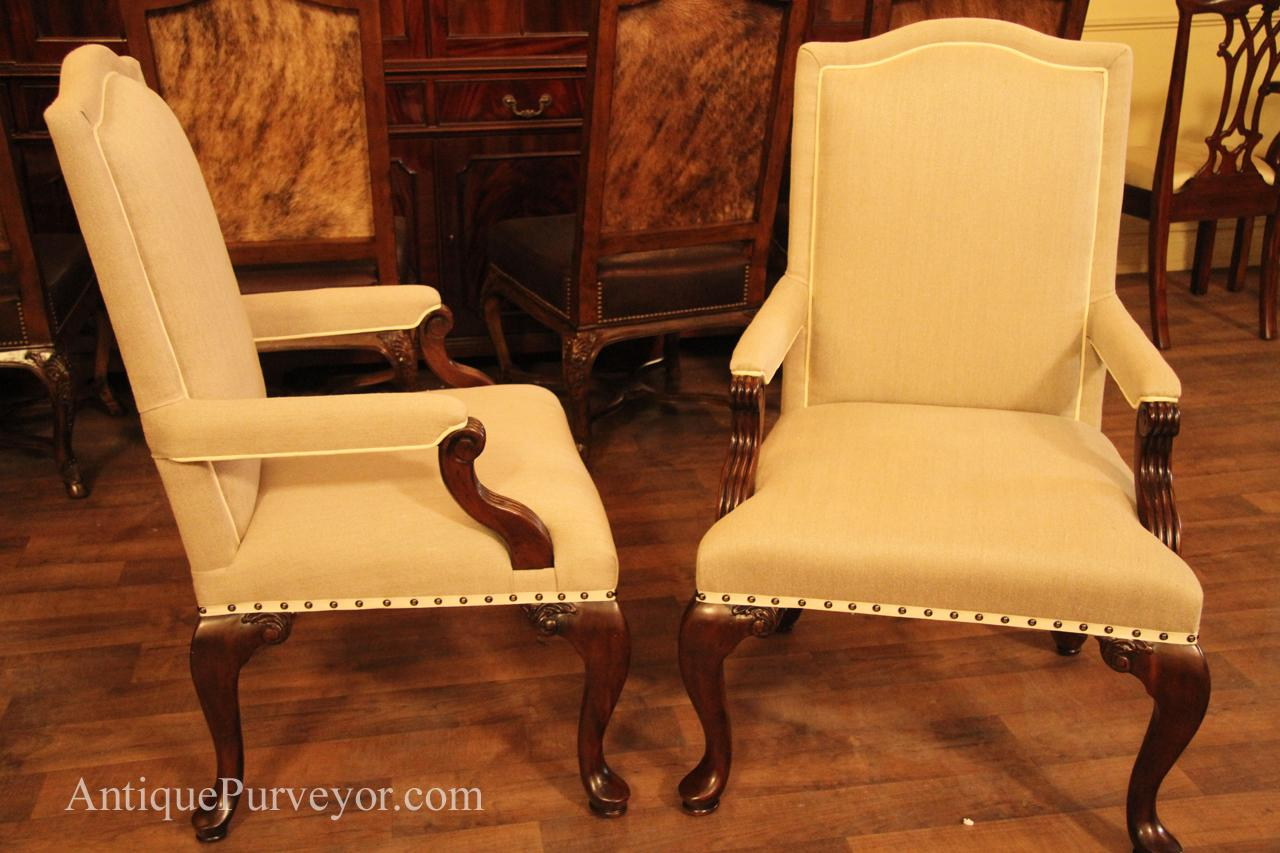 Queen Chairs Queen Anne Arm Chairs Upholstered With Neutral Linen
