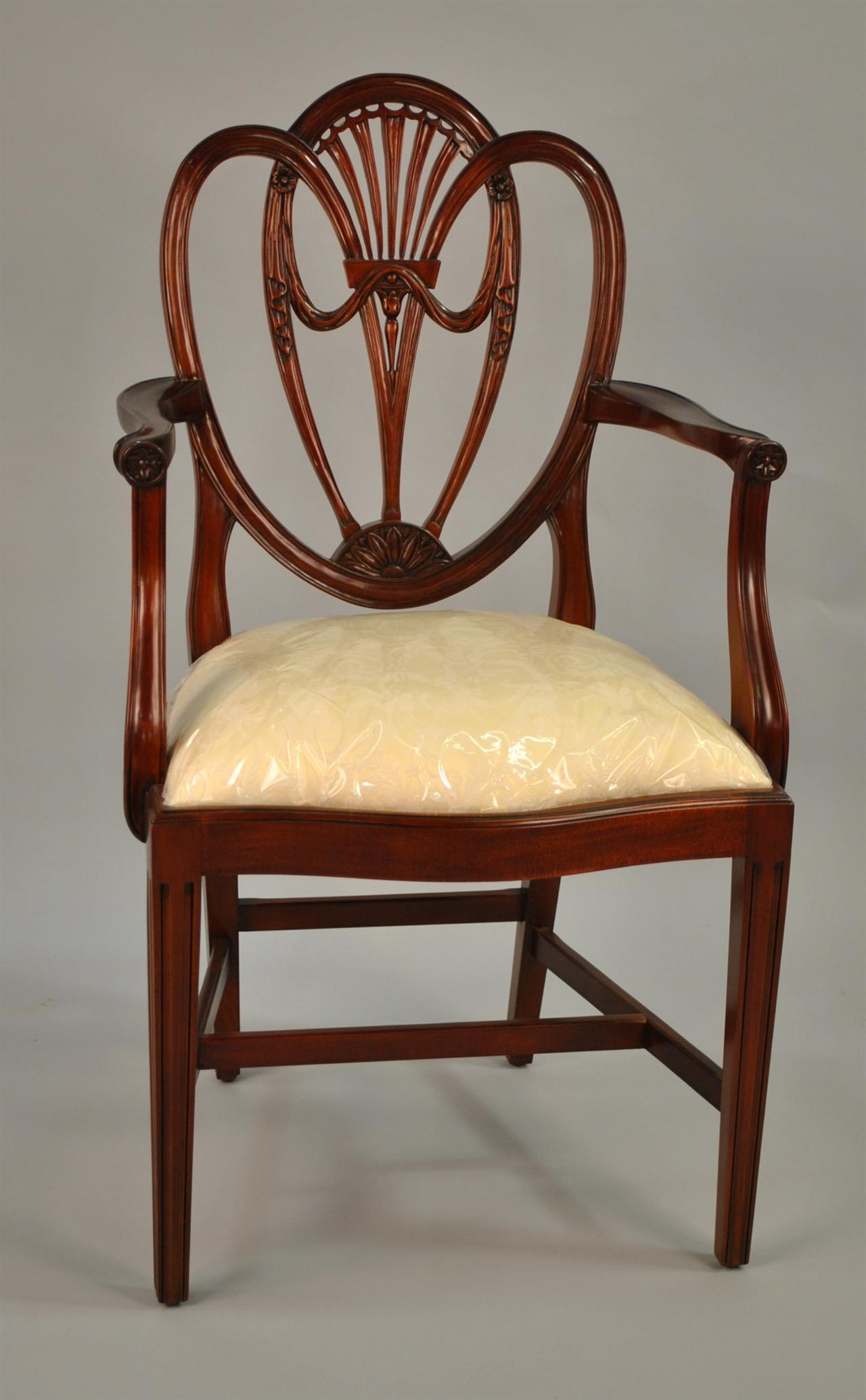 Room Chairs Swag Sweetheart Shield Back Dining Room Chairs Solid Mahogany