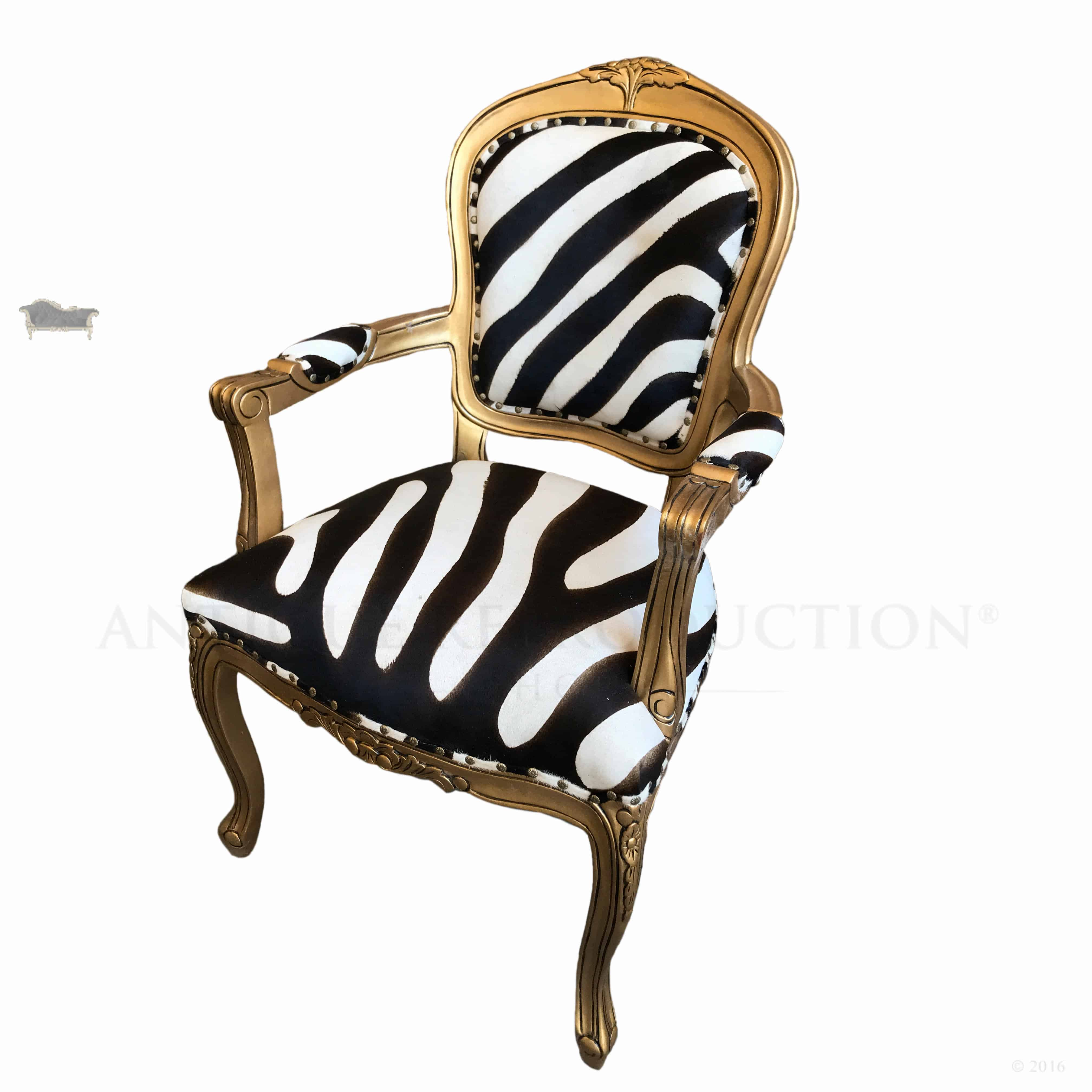 Cow Print Chair Cow Hyde Zebra Print Louis Chair Antique Reproduction Shop