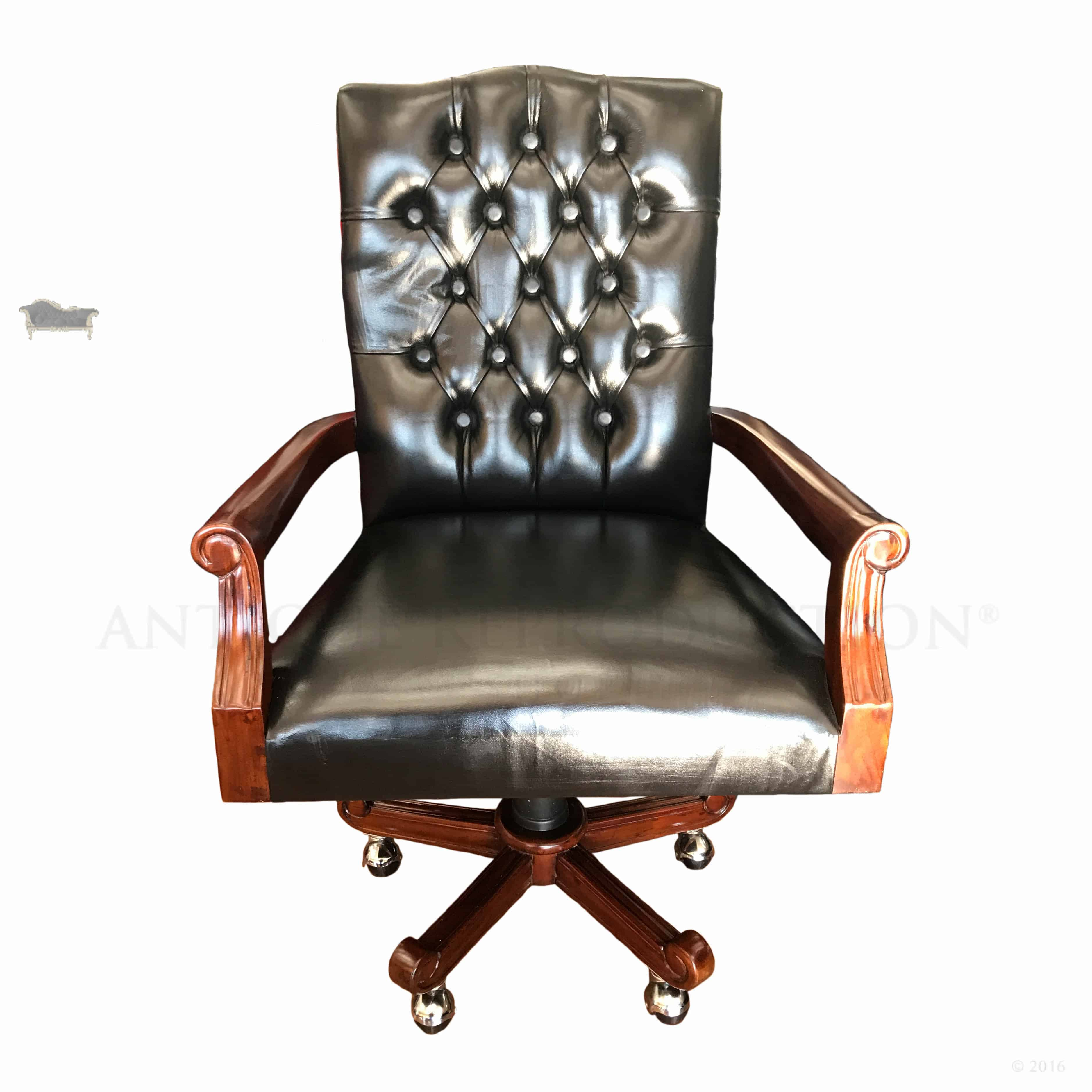 Wingback Office Chair Wing Style Swivel Office Chair Black Antique