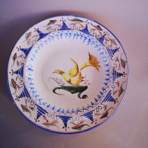 Spanish majolica plate with bird