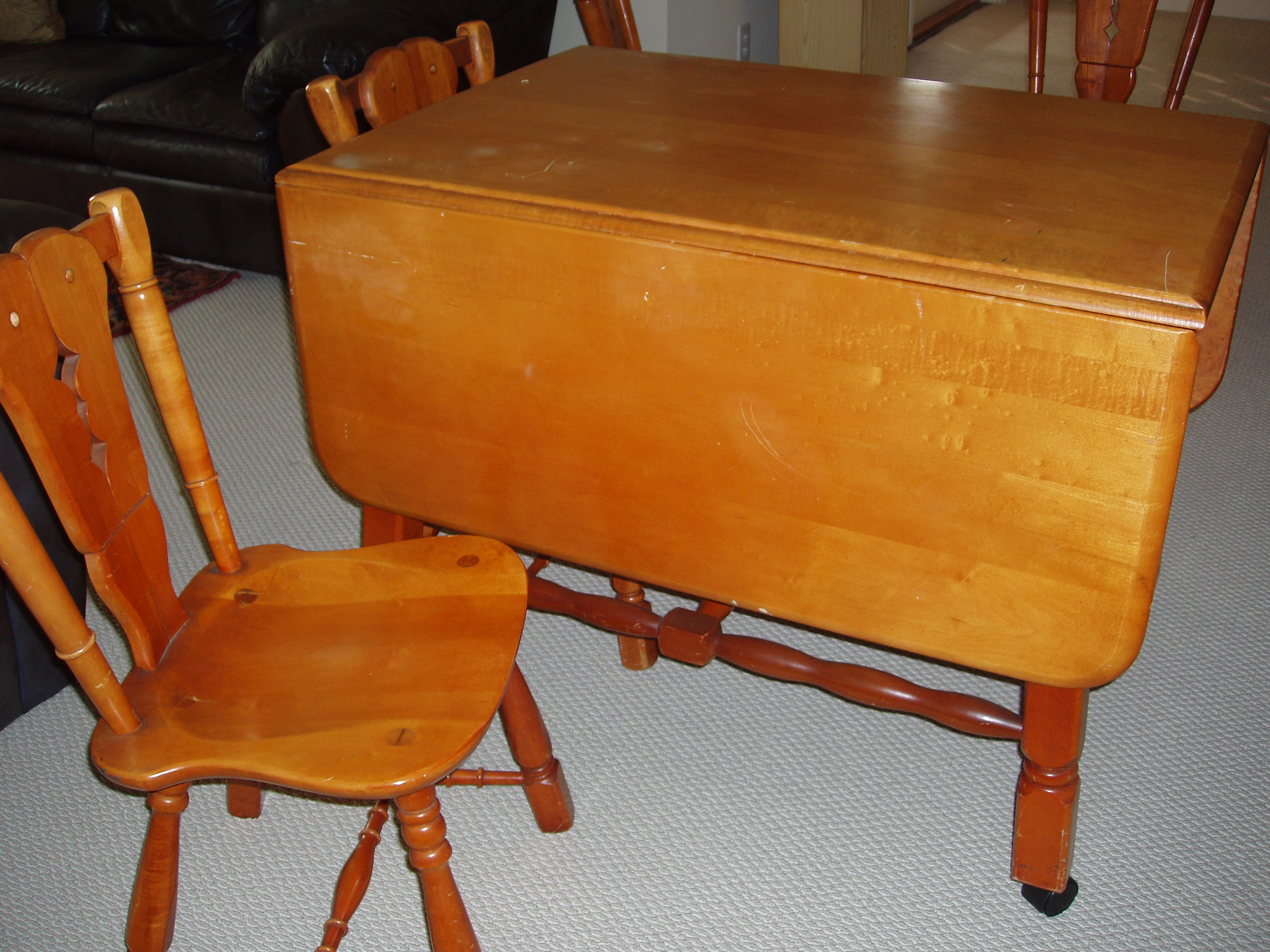 Drop Leaf Table With Chairs Maple Drop Leaf Table And 4 Chairs For Sale Antiques