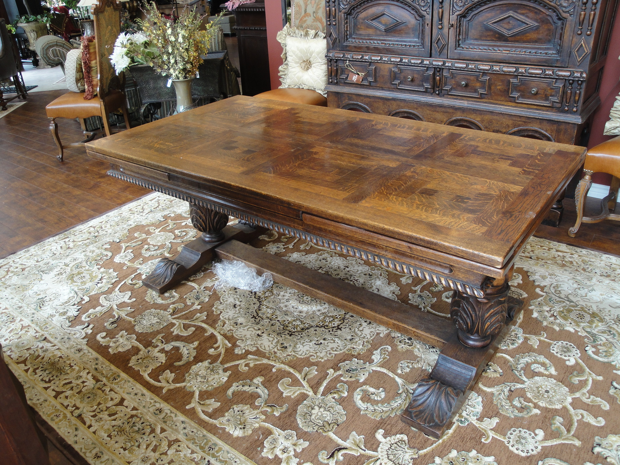 19th Century Oak Trestle Draw Leaf Dining Table For Sale