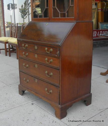 Antique English George Iii Mahogany Secretary Desk 1810