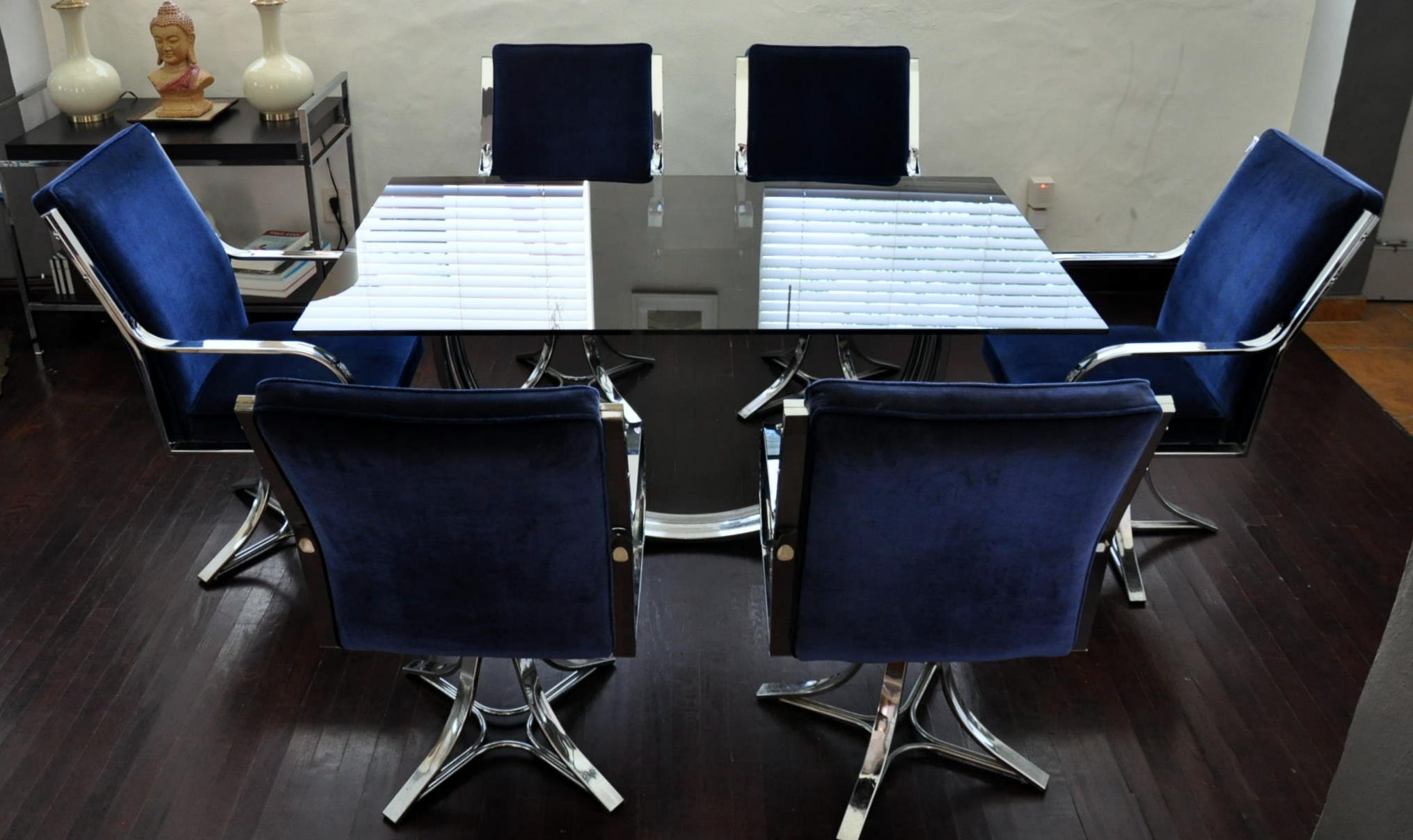 Navy Blue Dining Chairs Stunning Chrome And Glass Dining Set For Sale Antiques