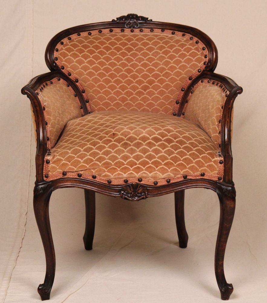 Petite Louis Xv Style French Antique Velvet Carved Vanity