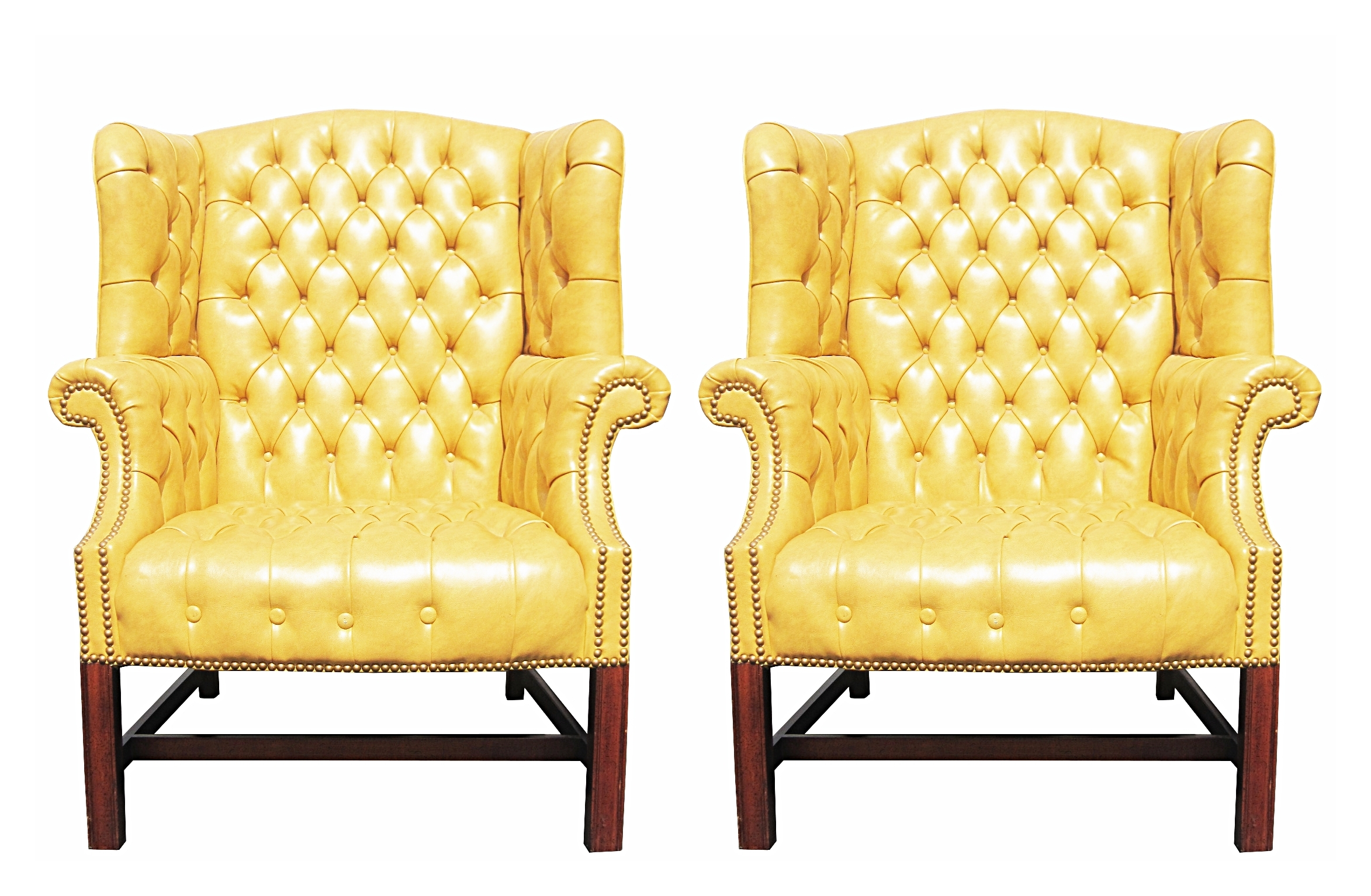 Yellow Chairs Pair Of Wormley Style Wingback Chairs In Yellow Naugahyde