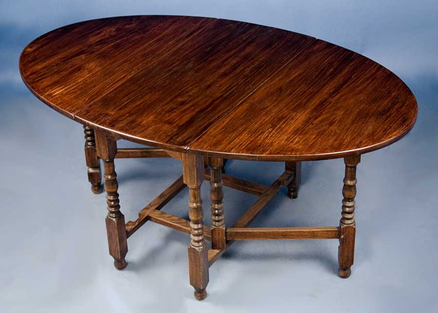 Antique English Oak Gate Leg Dining Table For Sale