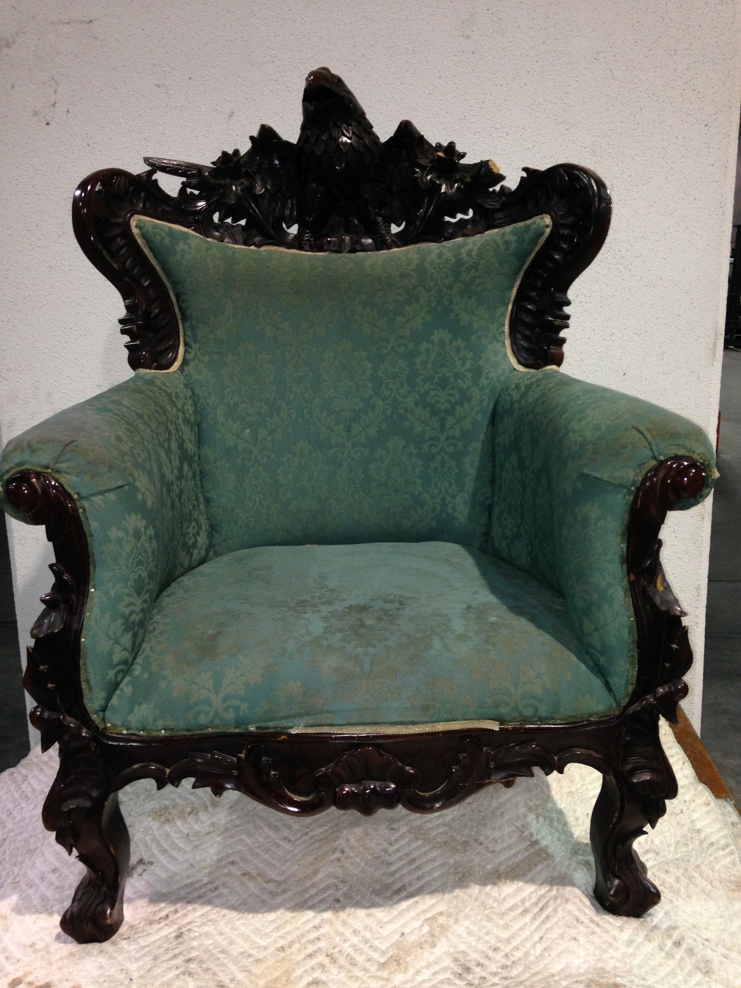 Antique Parlor Chairs Hand Carved Parlor Chair Eagle With Chippendale Legs For Sale