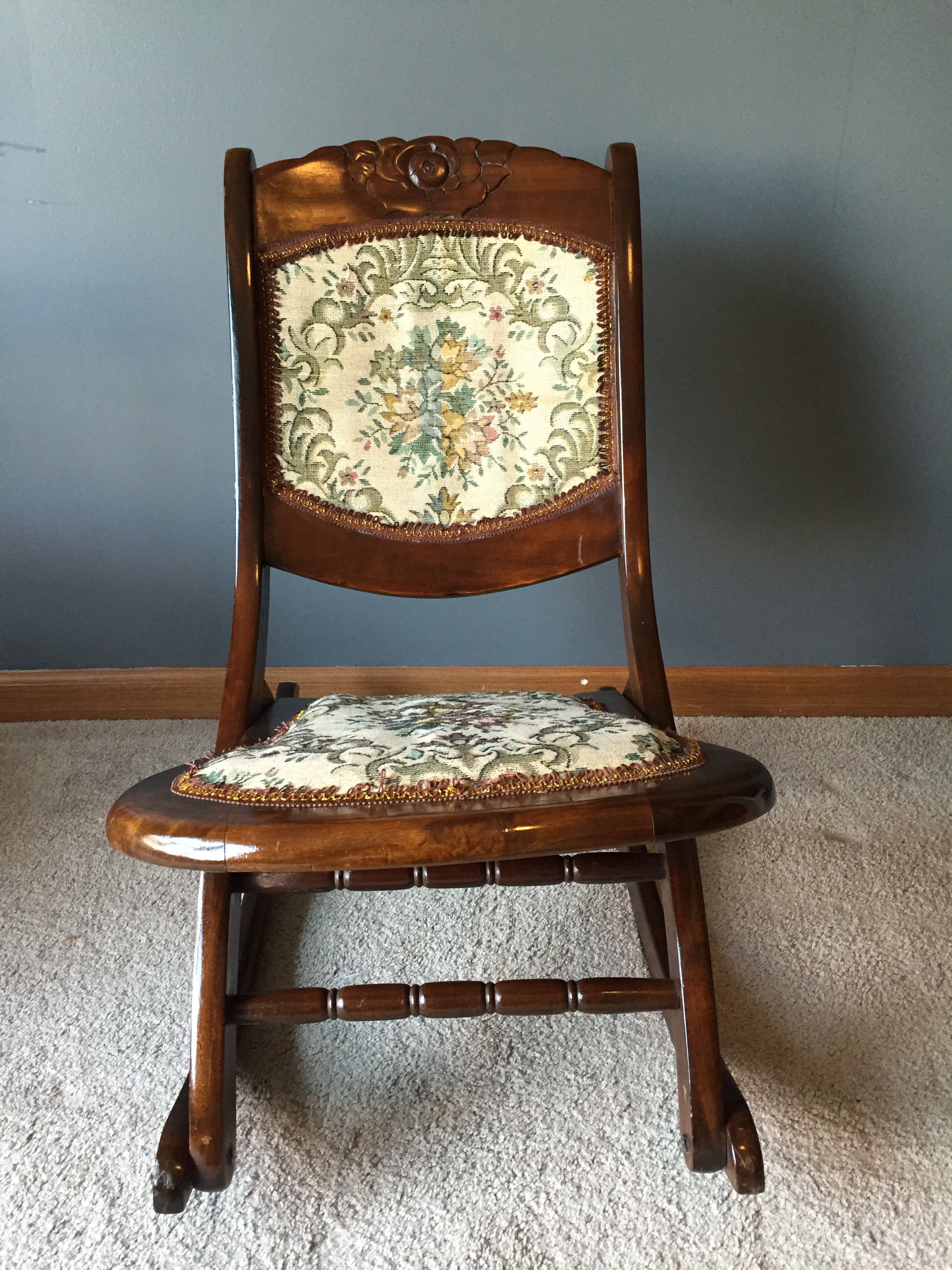 Antique Rocking Chair Antique Folding Rocking Sewing Chair W Victorian Tapestry
