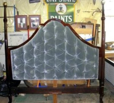 Custom Upholstered Mahogany Kingsize Headboard